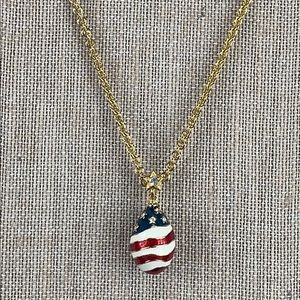 Joan Rivers Egg Pendant US Flag Necklace